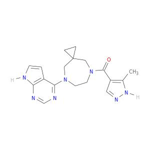 Cc1[nH]ncc1C(=O)N1CCN(CC2(C1)CC2)c1ncnc2c1cc[nH]2