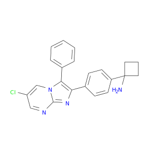 Clc1cnc2n(c1)c(c1ccccc1)c(n2)c1ccc(cc1)C1(N)CCC1